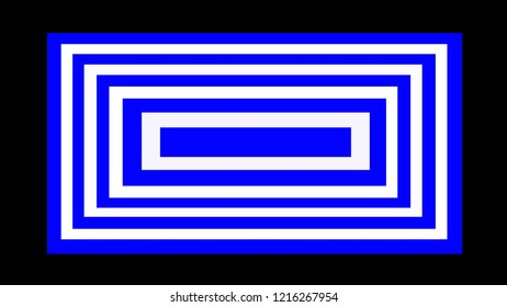 Abstract drawing of a two-color lined rectangle on a black background. Abstract lined quadrangle in white and blue.
