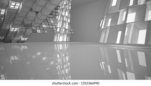 Abstract drawing white interior. 3D illustration and rendering.