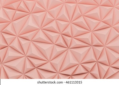 Abstract dusty rose low poly background with copy space 3d render