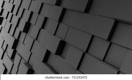 Abstract dynamic black cube blocks wall. Realistic plastic texture. 3D rendering.