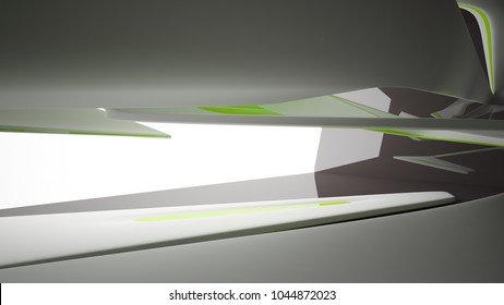 Abstract dynamic black interior with white and green smooth objects. 3D illustration and rendering