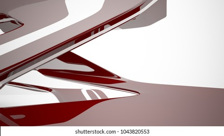 Abstract dynamic interior with brown smooth objects. 3D illustration and rendering