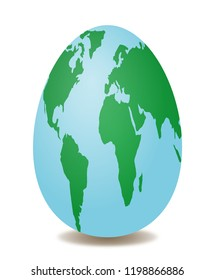 Abstract Easter egg as globe, world map