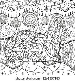 Abstract eastern pattern with cat on isolated white. Zentangle. Hand drawn abstract patterns on isolation background. Design for spiritual relaxation for adults. Black and white illustration