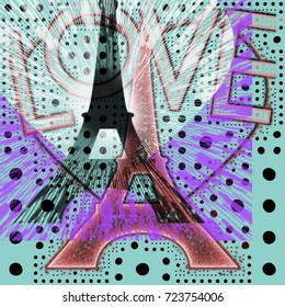Abstract eiffel tower silhouette with love illustration