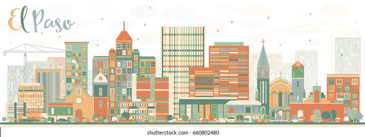 Abstract El Paso Skyline with Color Buildings. Business Travel and Tourism Concept with Modern Architecture. Image for Presentation Banner Placard and Web Site.