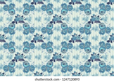 Abstract elegance raster seamless pattern with poppy flowers in violet, blue and gray colors.