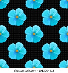 Abstract elegance seamless pattern with cosmos flowers in blue, black and gray colors.