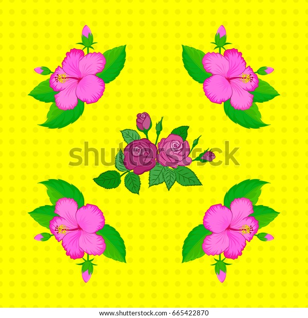 Abstract elegance seamless pattern with floral motifs on a yellow background. Decorative hibiscus flowers repeating pattern.