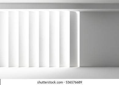 Abstract elegant geometric of blank empty space and white walls with light. Modern concept background. 3d Render