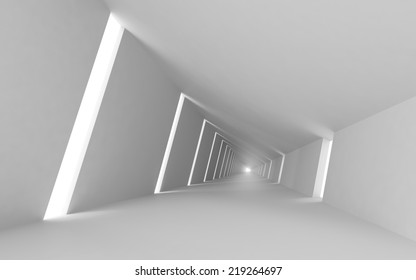 Abstract empty 3d interior background, white corridor perspective