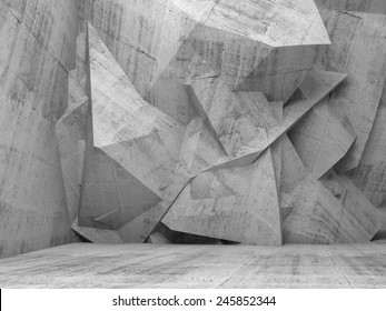 Abstract empty concrete 3d interior with chaotic polygonal relief pattern on the wall