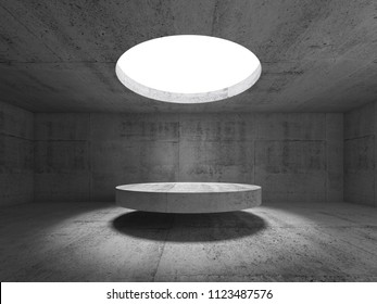 Abstract empty concrete interior, showroom with round ceiling light and stage under it. 3d illustration