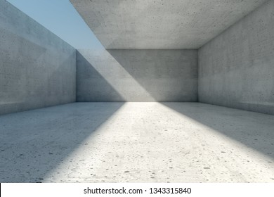 Abstract empty concrete room background with open ceiling and wall, 3d illustration.