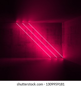 Abstract empty dark concrete interior with three diagonal red neon lights, 3d render illustration