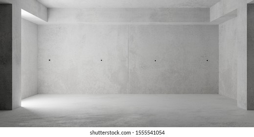 Abstract empty, grunge, modern concrete room with pillars - industrial interior background template, 3D illustration