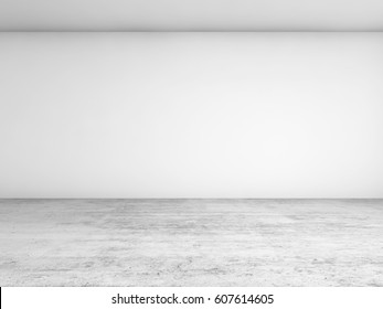 Abstract empty interior background, blank white wall and concrete floor, contemporary architecture design. 3d illustration