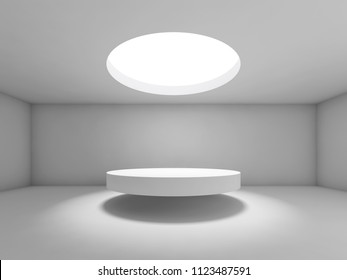 Abstract empty interior background, showroom with round ceiling light and table under it. 3d render illustration