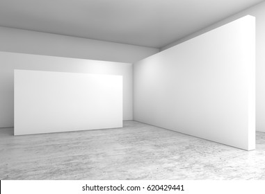 Abstract empty interior, white walls installation on concrete floor, contemporary open space architecture design. 3d illustration