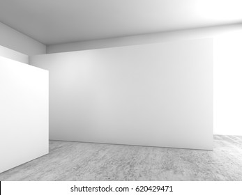 Abstract empty interior, white walls installation on concrete floor, contemporary open space architecture design, 3d illustration