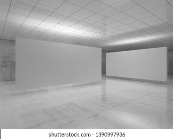 Abstract empty minimalist interior design, white stands installation levitating in exhibition gallery with walls made of polished concrete and shiny ceiling. 3d render