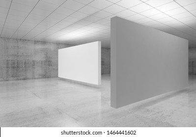 Abstract empty minimalist interior, white stands installation is in exhibition gallery room with walls made of polished concrete and shiny ceiling. 3d illustration