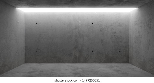 Abstract empty, modern concrete room with toplit grey backwall - industrial interior or gallery background template, 3D illustration