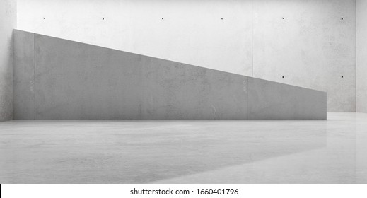 Abstract empty, modern concrete room with indirect lighting from left wall, stairs and shiny floor - industrial interior background template, 3D illustration