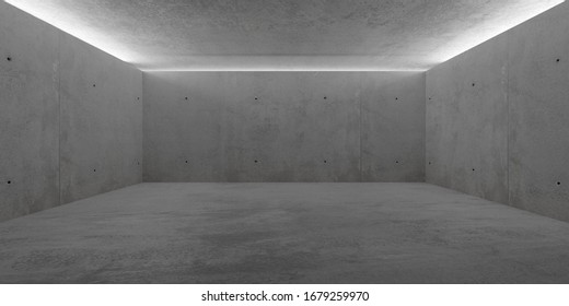 Abstract empty, modern concrete room with indirect lit ceiling and rough floor - industrial interior background template, 3D illustration