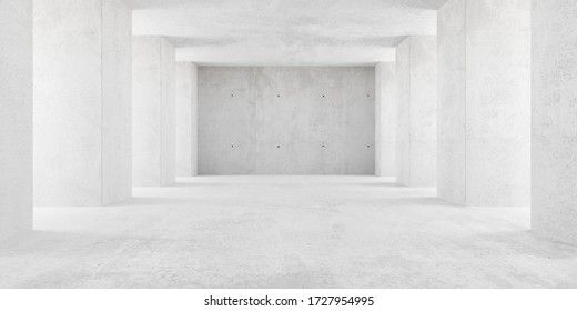 Abstract empty, modern concrete room with indirect lighting thru side pillars and rough floor - industrial interior background template, 3D illustration