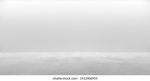 Abstract empty, modern concrete room with indirect lighting from top and rough cement floor - industrial interior background template, 3D illustration