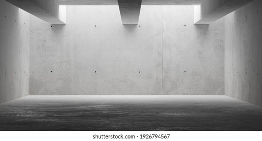 Abstract empty, modern concrete room with indirect lighting from top, ceiling beams and rough floor - industrial interior background template, 3D illustration