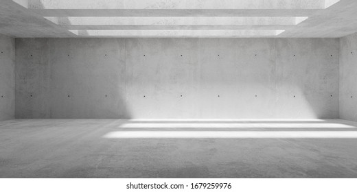 Abstract empty, modern concrete walls hallway room with ceiling light shadows and rough floor - industrial interior background template, 3D illustration