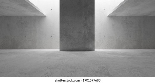 Abstract empty, modern concrete walls room with indirekt ceiling light and center wall - industrial interior background template, 3D illustration