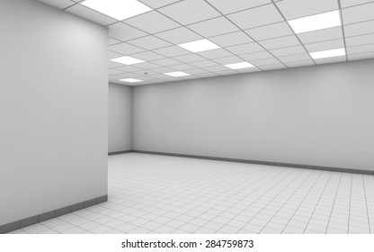 Abstract empty office room interior with white walls, ceiling lights and floor tiling, 3d illustration