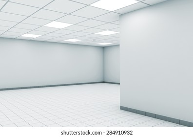 Abstract empty office room interior with white walls, square ceiling lights and floor tiling, 3d illustration