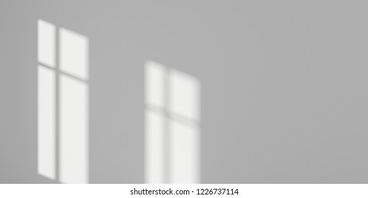 Abstract of empty room space with sun light cast the window shadow on the wall,Perspective of minimal design architecture. 3d rendering