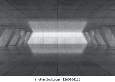Abstract Empty space with concrete wall. Modern blank showroom with floor. Future concept. 3d rendering.