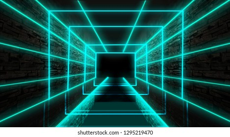 Abstract empty tunnel, corridor, illuminated by neon light, smoke. Bright neon background. 3d illustration
