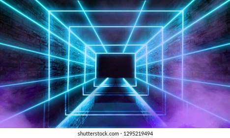 Abstract empty tunnel, corridor, illuminated by neon light, smoke. Bright neon background. 3d illustration