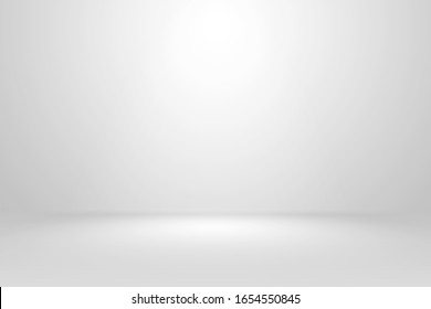 Abstract empty white and gray gradient soft light background of studio room for art work design.