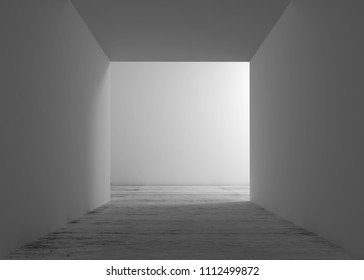 Abstract empty white interior background, corridor with concrete flooring and glowing end. 3d render illustration