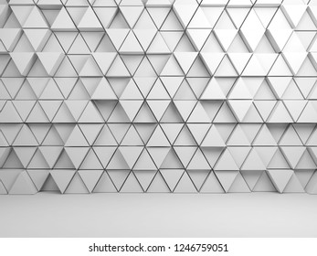 Abstract empty white interior background with mosaic triangles pattern on front wall, 3d render illustration