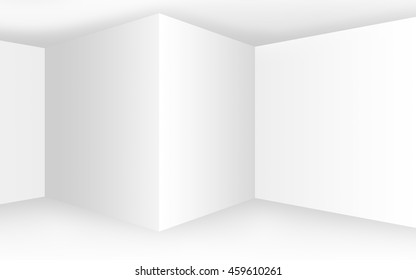 Abstract empty white interior with corners and blank walls, 3D