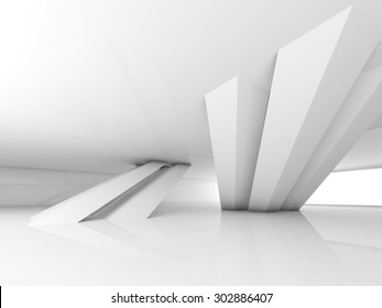Abstract empty white interior with inclined columns and window, 3d render illustration