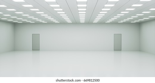 Abstract empty white interior space with office lights. Tiled ceiling and floor. Two doors in the wall. Choice or decision concept. 3d rendering illustration