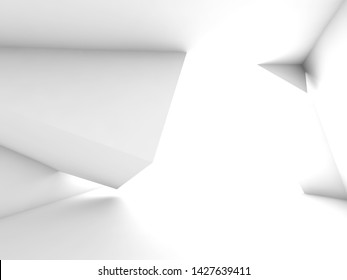 Abstract empty white room with geometric installation, minimal architecte background. 3d render illustration