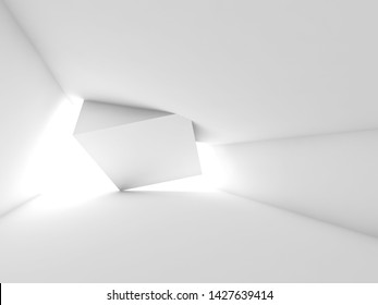 Abstract empty white room interior with cube installation, minimal architectural background. 3d render illustration
