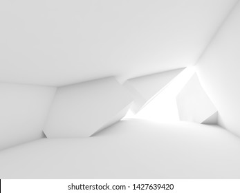Abstract empty white room interior with geometric installation art, minimal architectural background. 3d render illustration