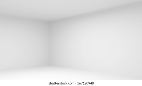 Abstract empty white room interior. 3d render illustration